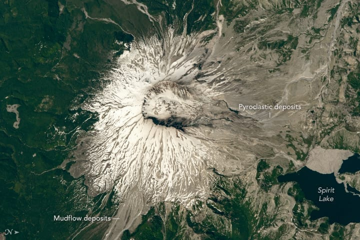 Mount St. Helens from the International Space Station with Spirit Lake
