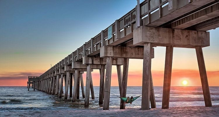 Seaside pier on pilings