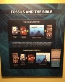 Photo of a sign on Fossils and the Bible from Answers in Genesis: by Steve Schramm