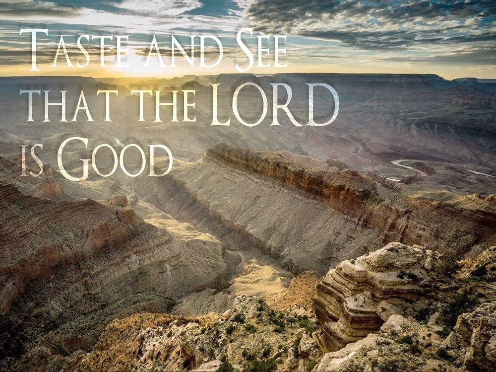 Taste and See that the LORD is Good over sunbeams and Grand Canyon, photo credit: Nate Loper