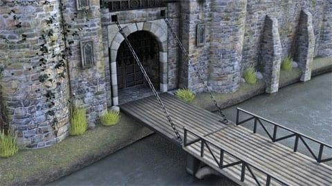 CG model of a castle gate with drawbridge, photo credit: Todd Elder