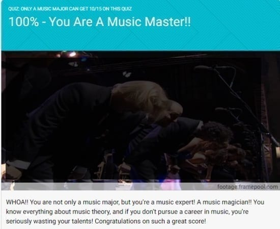 Screen capture praising your skill in music