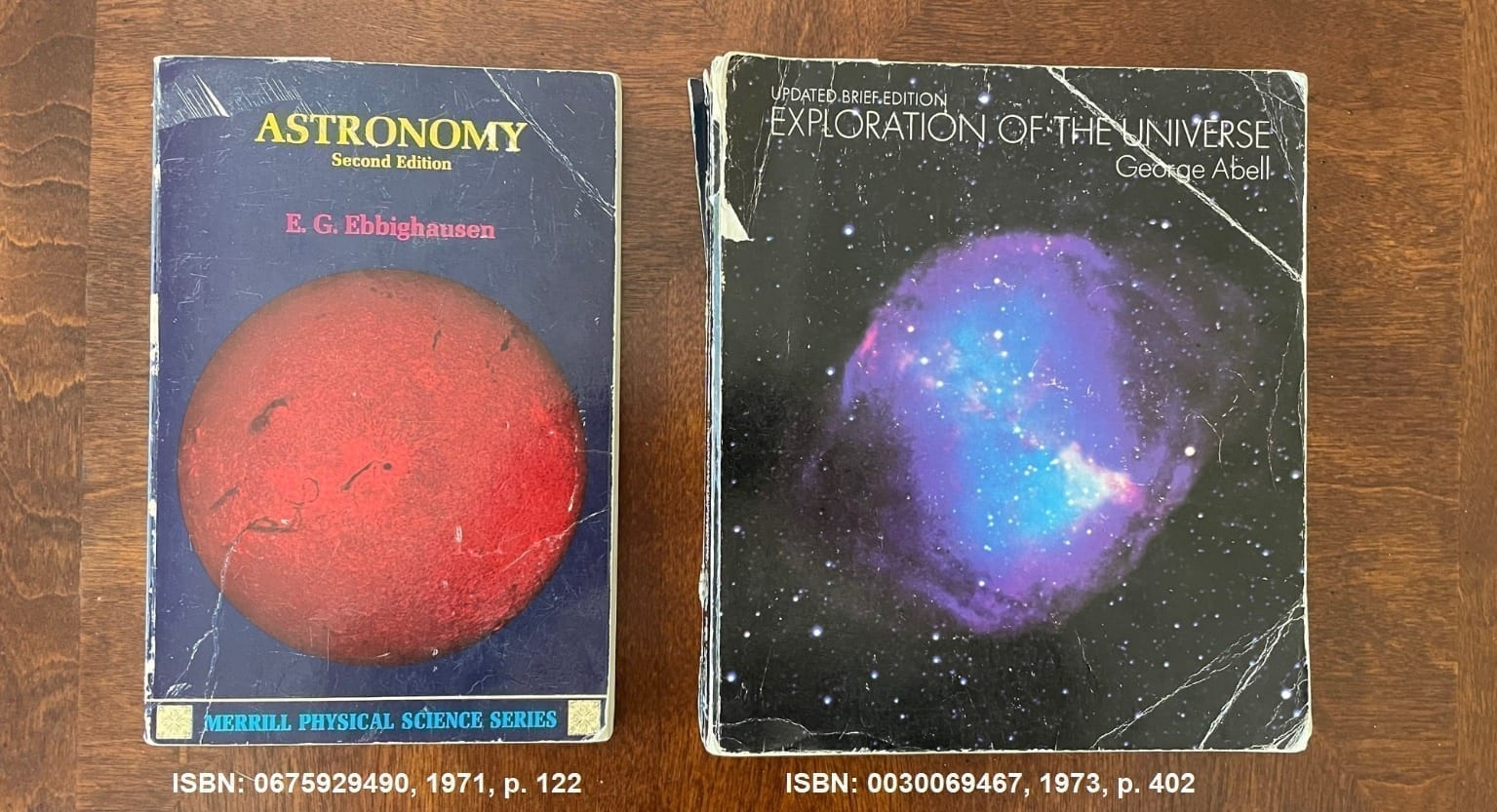 Astronomy textbooks from 1974