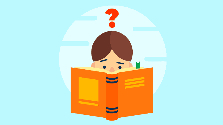 Illustration of a child questioning while reading a book