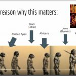 """Evolution of man with arrows pointing to beliefs about where """"races"""" fit in, YouTube still"""