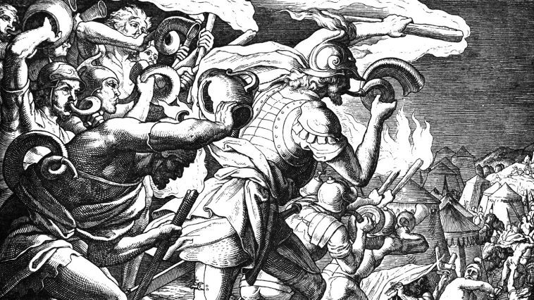 Drawing of Gideon and his men at the defeat of the Midianites: Photo 69560605 © Pavel Kusmartsev   Dreamstime.com